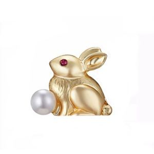 Rabbit Brooch with Pearl Ruby 21k Gold dipped NWT